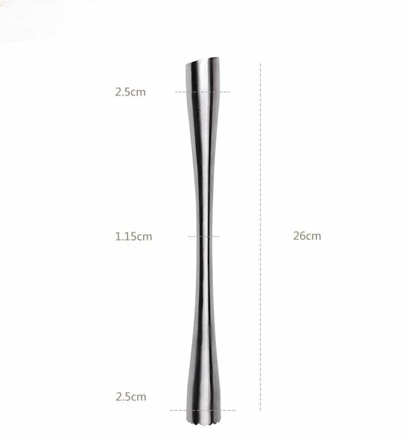 Long Pilon à Cocktail Solide Acier Inoxydable 7