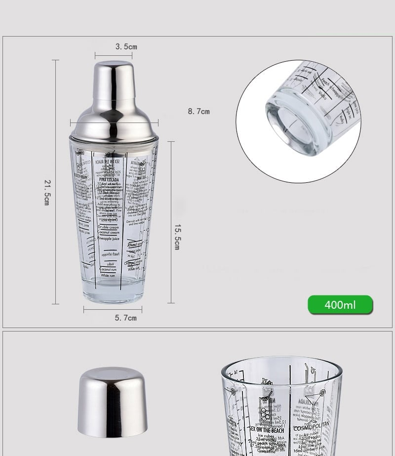 Shaker de Cocktail Transparent Acier Inoxydable 7