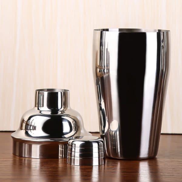 Shaker de Cocktail Argent Acier Inoxydable 4