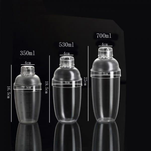 Shaker de Cocktail Transparent Plastique 2