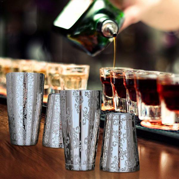 Shaker de Cocktail Acier Inoxydable avec Motif Floral 6