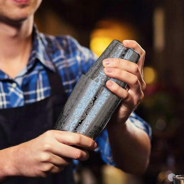 Shaker de Cocktail Acier Inoxydable avec Motif Floral 5