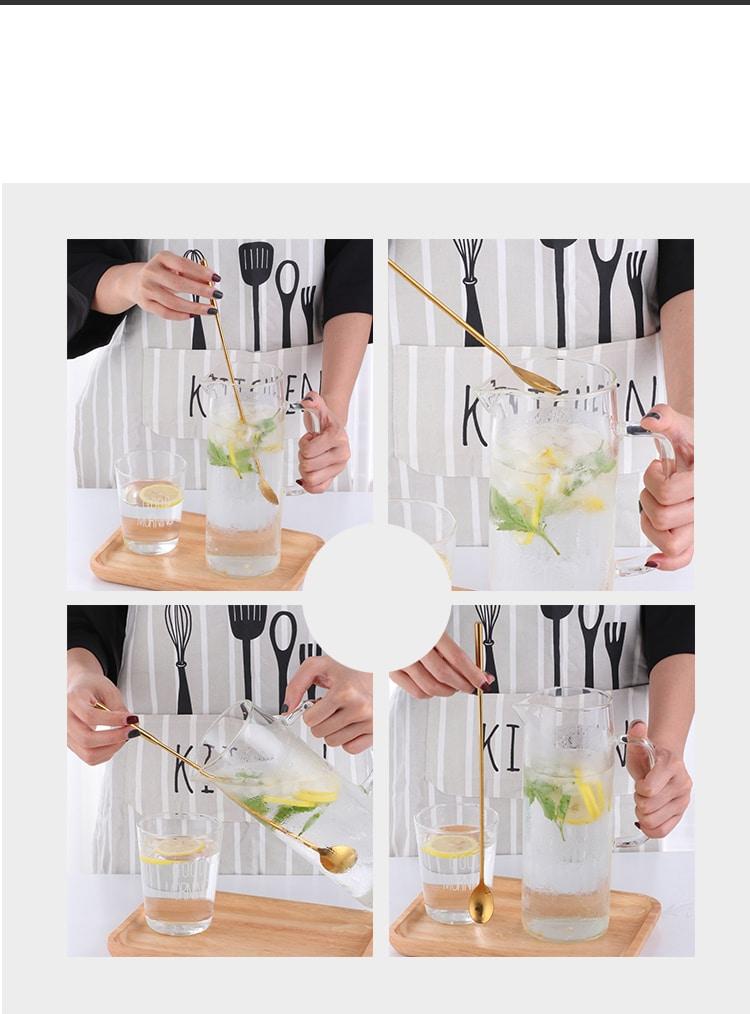 Long Cuillère de Cocktail Solide Métal 6