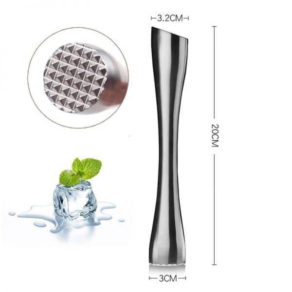 Pilon à Cocktail Argent Solide Acier Inoxydable 5