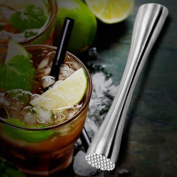 Pilon à Cocktail Argent Solide Acier Inoxydable 2